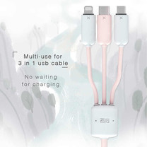 Maoxin สายชาร์จ USB 3in1 ชาร์จพร้อมกันได้3 เครื่อง Lighning+Micro+Type-C