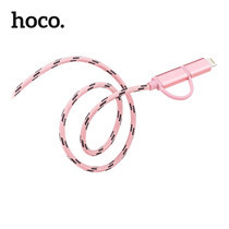 สายชาร์จ HOCO UPL20 2in1 Metal Knitted สำหรับ iPhone - Pink
