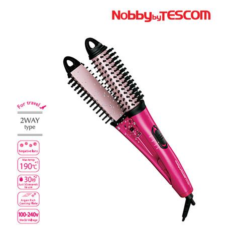Nobby by TESCOM Negative Ions 2ways Brush Hair Iron 2 in 1 Hair Styler รุ่น NTIR1832