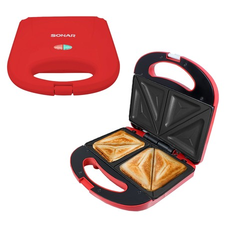 SONAR เครื่องปิ้งแซนวิช อุปกรณ์ทำขนม แซนวิช เครื่องทำแซนวิช เครื่องทำขนมแซนวิช เครื่องทำอาหารเช้า รุ่น SM-S021 สีแดง