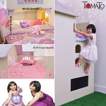TOMATO KidZ เตียงบ้านตุ๊กตา 2 ชั้น Doll House+ฟูกที่นอนฐานเตียง5ฟุต-Cream/Lilac