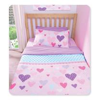 TOMATO KidZ ชุดผ้าปูที่นอน 3 ชิ้น สำหรับเตียง 3.5 ฟุต - Hailey Hearts