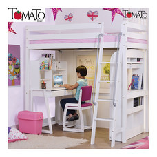 TOMATO KidZ เตียงสูง High Sleeper + ชุดโต๊ะเก้าอี้เรียน Pine Series - White