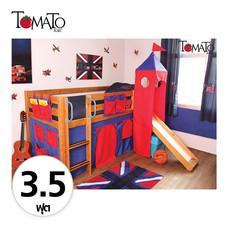 TOMATO KidZ เตียงนอน Slider Jersey 3.5 ฟุต (ม่านแดง/น้ำเงิน)