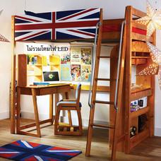 TOMATO KidZ เตียงสูง High Sleeper + ชุดโต๊ะเก้าอี้เรียน Pine Series - Oak