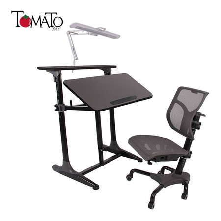TOMATO KidZ ชุดโต๊ะเก้าอี้ปรับระดับ+ โคมไฟ LED University 1.0 - Graphite