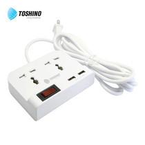 Toshino ปลั๊กไฟ 2 ช่อง 1 สวิตช์ 2 USB (2.4A) ยาว 3 เมตร TSN-TO2U -3M