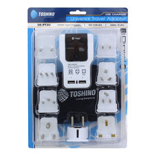 Toshino Travel Adapter 9in1 2 USB DE-PT2U