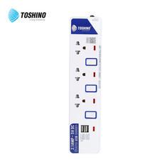 Toshino รางปลั๊ก มอก. 3 ช่อง และ 2 USB ป้องกันไฟกระชาก สายยาว 3 เมตร ET-913USB