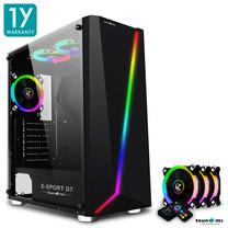 Tsunami E-Sport D7 Transparent Tempered Glass RGB light ATX Gaming Case (Black) Circle x 3pcs