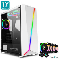 Tsunami E-Sport D7 Transparent Tempered Glass RGB light ATX Gaming Case (White) Circle x 7pcs