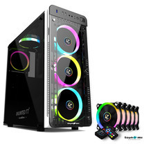Tsunami Unlimited Series T7+ Gaming Case (White) with Circle RGB Cooling fan X5
