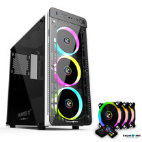 Tsunami Unlimited Series T7+ Gaming Case (White) with Circle RGB Cooling fan X3
