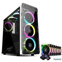 Tsunami Unlimited Series T7+ Gaming Case (White) with Circle RGB Cooling fan X7
