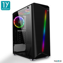 Tsunami Galaxy G7 Transparent Tempered Glass RGB light ATX Gaming Case (Black)