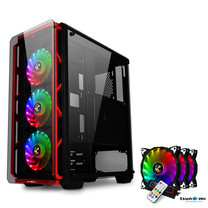 Tsunami Hunter Eagle H9 KK Tempered Glass Frontal Hanger ATX Gaming Case with Rainbow x3