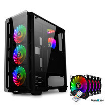 Tsunami Hunter Eagle H9 KK Tempered Glass Frontal Hanger ATX Gaming Case with Rainbow x5