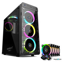Tsunami Unlimited Series T7+ Gaming Case (Black) with Circle RGB Cooling fan X5