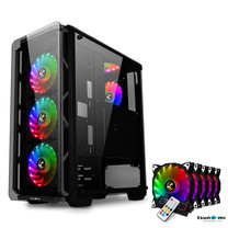 Tsunami Hunter Eagle H9 KG Tempered Glass Frontal Hanger ATX Gaming Case with Rainbow x5