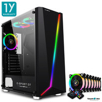 Tsunami E-Sport D7 Transparent Tempered Glass RGB light ATX Gaming Case (Black) Circle x 7pcs