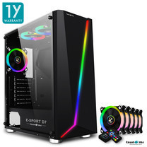 Tsunami E-Sport D7 Transparent Tempered Glass RGB light ATX Gaming Case (Black) Circle x 5pcs