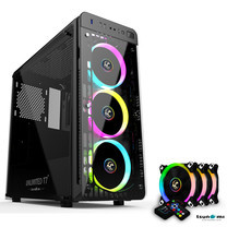 Tsunami Unlimited Series T7+ Gaming Case (Black) with Circle RGB Cooling fan X3