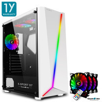 Tsunami E-Sport D7 Transparent Tempered Glass RGB light ATX Gaming Case (White) Rainbow x 3pcs
