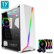Tsunami E-Sport D7 Transparent Tempered Glass RGB light ATX Gaming Case (White) Circle x 3pcs