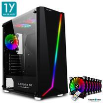 Tsunami E-Sport D7 Transparent Tempered Glass RGB light ATX Gaming Case (Black) Rainbow x 7pcs