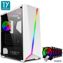 Tsunami E-Sport D7  Transparent Tempered Glass RGB light ATX Gaming Case (White) Rainbow x 7pcs