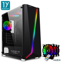 Tsunami E-Sport D7  Transparent Tempered Glass RGB light ATX Gaming Case (Black) Rainbow x 3pcs