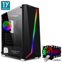 Tsunami E-Sport D7  Transparent Tempered Glass RGB light ATX Gaming Case (Black) Rainbow x 5pcs