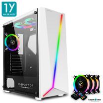 Tsunami E-Sport D7  Transparent Tempered Glass RGB light ATX Gaming Case (White) Circle x 3pcs