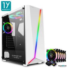 Tsunami E-Sport D7  Transparent Tempered Glass RGB light ATX Gaming Case (White) Circle x 5pcs