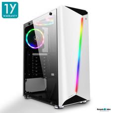 Tsunami Galaxy G7 Transparent Tempered Glass RGB light ATX Gaming Case (White)