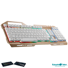 Tsunami GK-09 Alloy Panel Backlight Gaming USB Wired Keyboard Gold