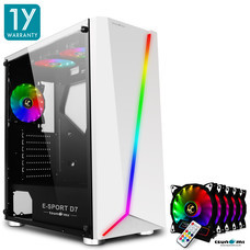 Tsunami E-Sport D7  Transparent Tempered Glass RGB light ATX Gaming Case (White) Rainbow x 5pcs