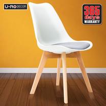 U-RO DECOR เก้าอี้ รุ่น CENTO (เซ็นโต้) สีขาว/เบาะสีเทา ขาไม้บีช