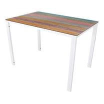 U-RO DECOR รุ่น KLASY Dining Table (BRUSH-WOOD design 140x80 cm.) - Multi-color /White leg