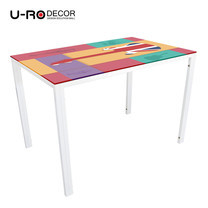 U-RO DECOR รุ่น KLASY-S Dining Table (UK-GUITAR design 110x70 cm.) - White leg