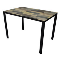 U-RO DECOR รุ่น KLASY Dining Table (INGLE WOOD design 140x80 cm.) - Brown /Black leg