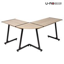 U-RO DECOR โต๊ะทำงาน / โต๊ะคอมพิวเตอร์ L-Shape รุ่น PLUS - สีโอ๊ค/ขาสีน้ำตาลเข้ม