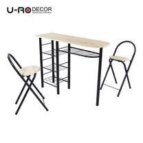 U-RO DECOR ชุดโต๊ะรับประทานอาหาร (โต๊ะบาร์ 1 + เก้าอี้บาร์ 2 ตัว) รุ่น ILLINOIS - สีซานรีโม่ /ขาสีดำ
