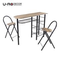 U-RO DECOR ชุดโต๊ะรับประทานอาหาร (โต๊ะบาร์ 1 + เก้าอี้บาร์ 2 ตัว) รุ่น ILLINOIS - สีวินเทจแนเชอรัล/ขาสีดำ