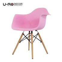U-RO DECOR เก้าอี้รับประทานอาหารเท้าแขน รุ่น CHARLOTTE (ชาร์ลอตต์) สีชมพู/ขาไม้บีช