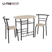 U-RO DECOR ชุดโต๊ะรับประทานอาหาร (โต๊ะ 1 + เก้าอี้ 2 ตัว) รุ่น CHERRY - สีซานรีโม่/ขาสีดำ