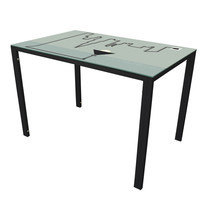U-RO DECOR รุ่น KLASY-S Dining Table (LIGHT design 110x70 cm.) - Black leg