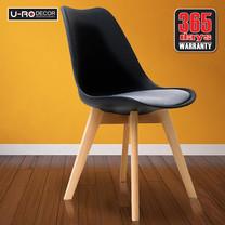 U-RO DECOR เก้าอี้ รุ่น CENTO (เซ็นโต้) สีดำ/ เบาะสีเทา ขาไม้บีช