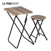 U-RO DECOR ชุดโต๊ะรับประทานอาหารพับได้ (โต๊ะ 1 + สตูล 1) รุ่น Hawaii - สีวินเทจแนเชอรัล/ขาสีดำ