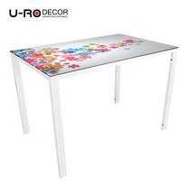 U-RO DECOR รุ่น KLASY-S Dining Table (JIGSAW design 110x70 cm.) - White leg